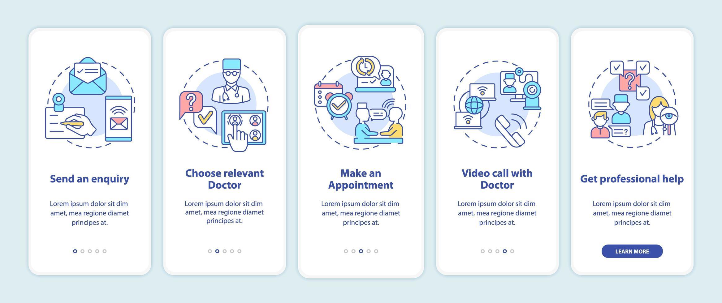 telemedische consultatiestappen onboarding mobiele app-paginascherm met concepten vector
