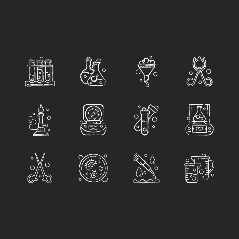 laboratoriumapparatuur krijt witte pictogrammen ingesteld op zwarte achtergrond vector