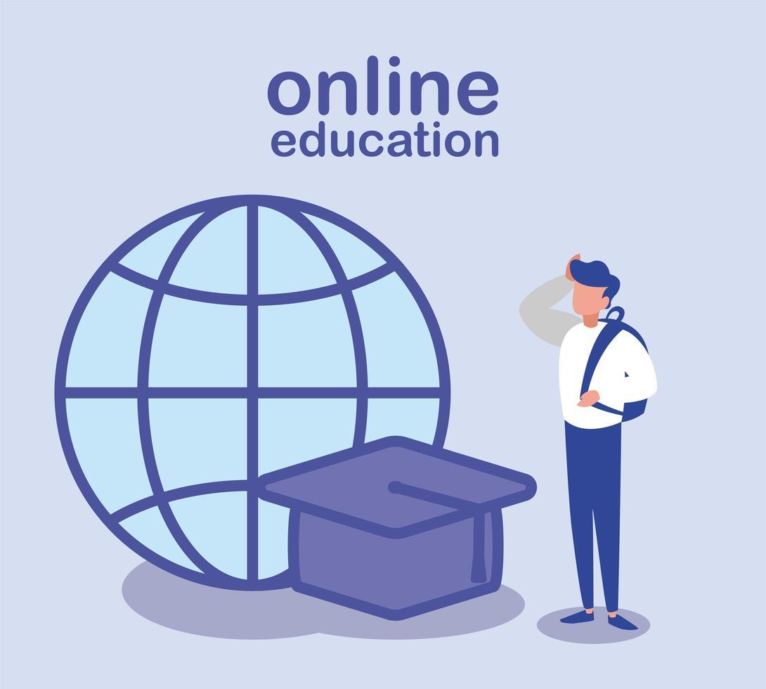 man met afstuderen GLB en mondiale sfeer, online onderwijs vector