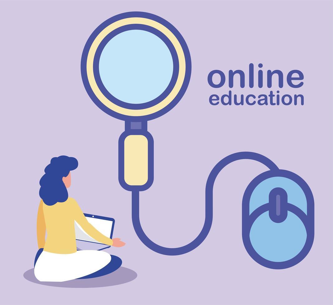 vrouw met laptop die opleiding doet of online leert vector