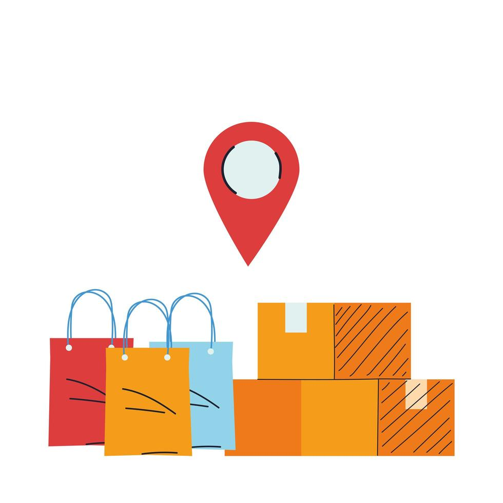 locatie van koopwaar en pakketten vectorillustratie vector