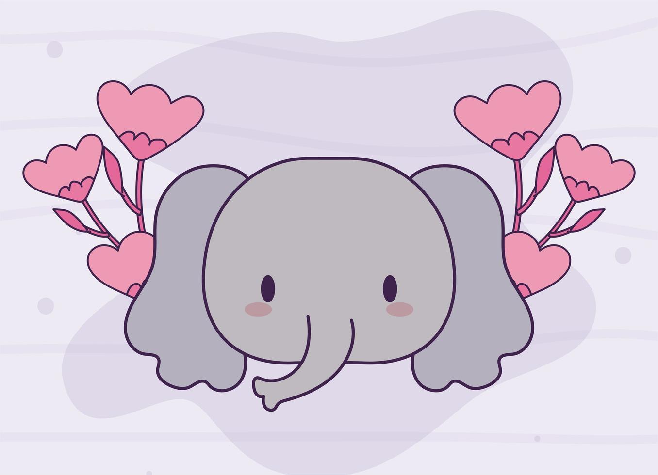 hoofd van kawaii olifant baby met bloemen vector