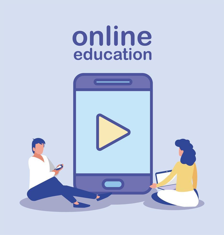mensen met technologie, online onderwijs vector