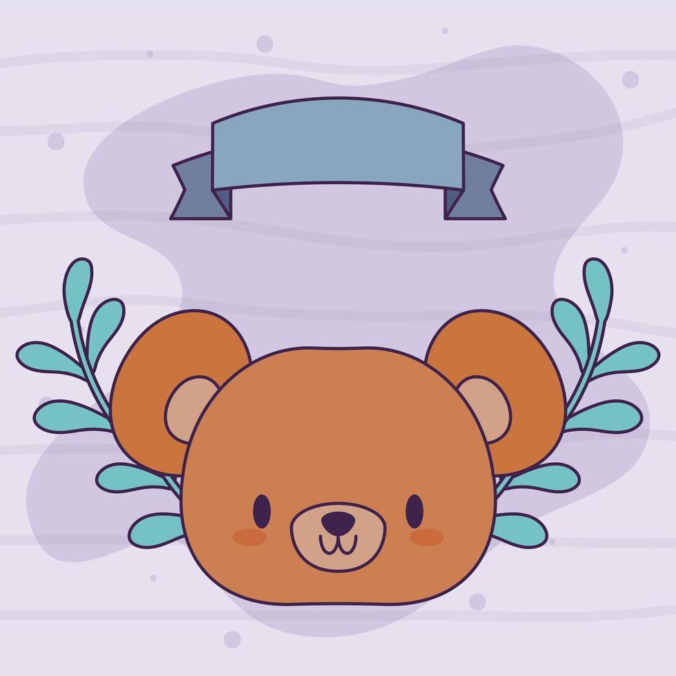 hoofd van kawaii beer met bloemen vector