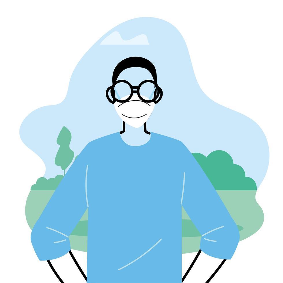 jonge man met gezichtsmasker om virus in het park te voorkomen vector