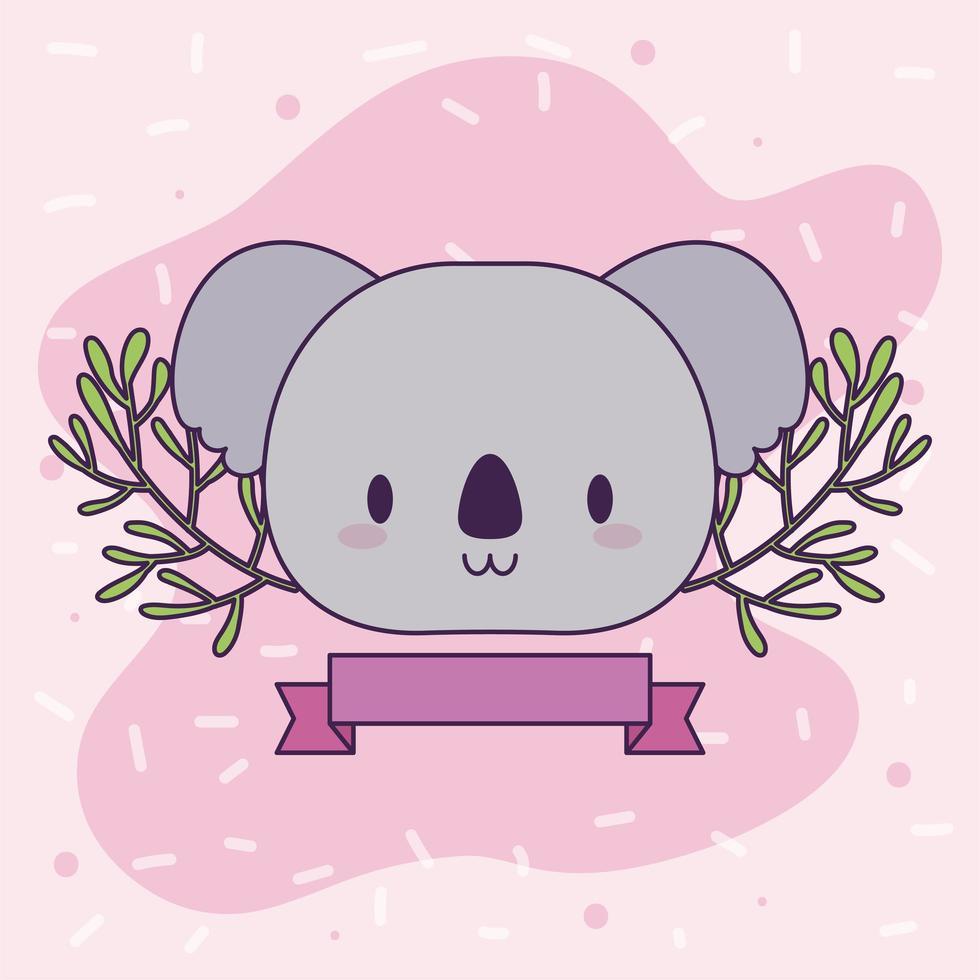 hoofd van kawaii koala met planten vector