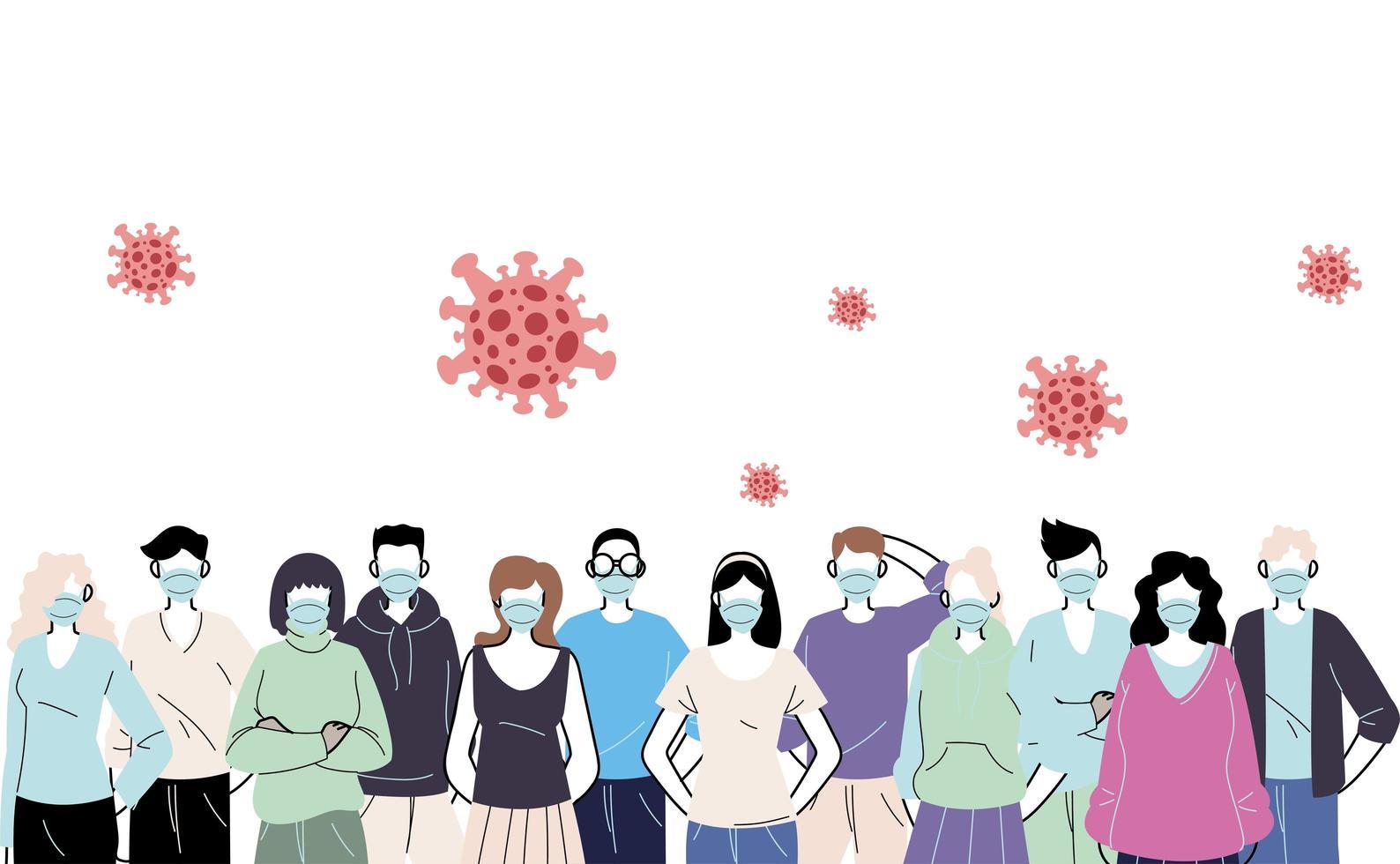 jongeren die gezichtsmaskers dragen om virussen te voorkomen vector