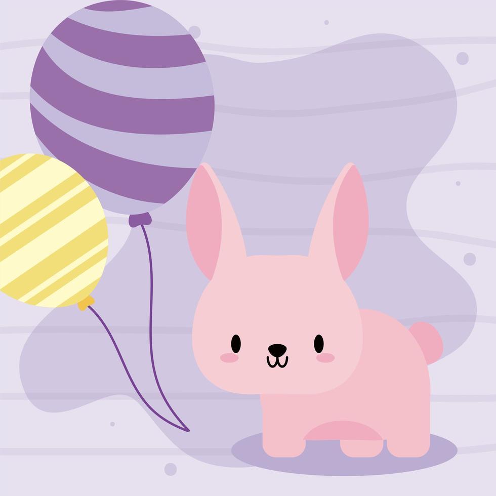 schattige verjaardagskaart met kawaii konijn vector