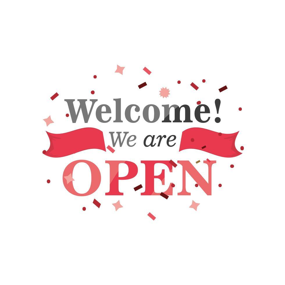 welkom, we zijn open banner met confetti pictogram vector ontwerp