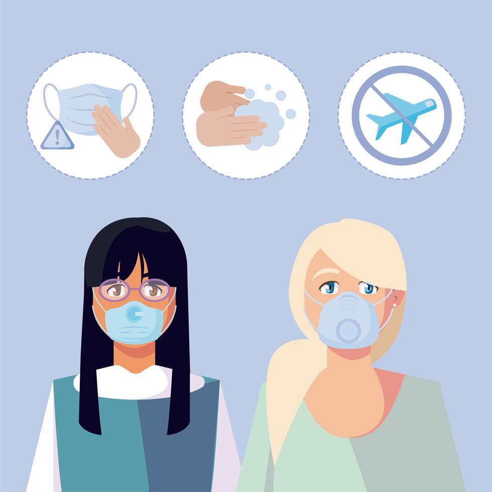 vrouwen met medische maskers en covid 19 icon set vector design
