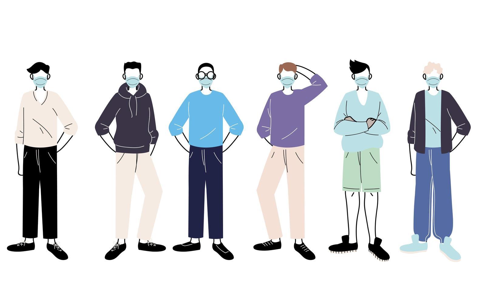 jonge mannen met medische maskers die zich op witte achtergrond bevinden vector