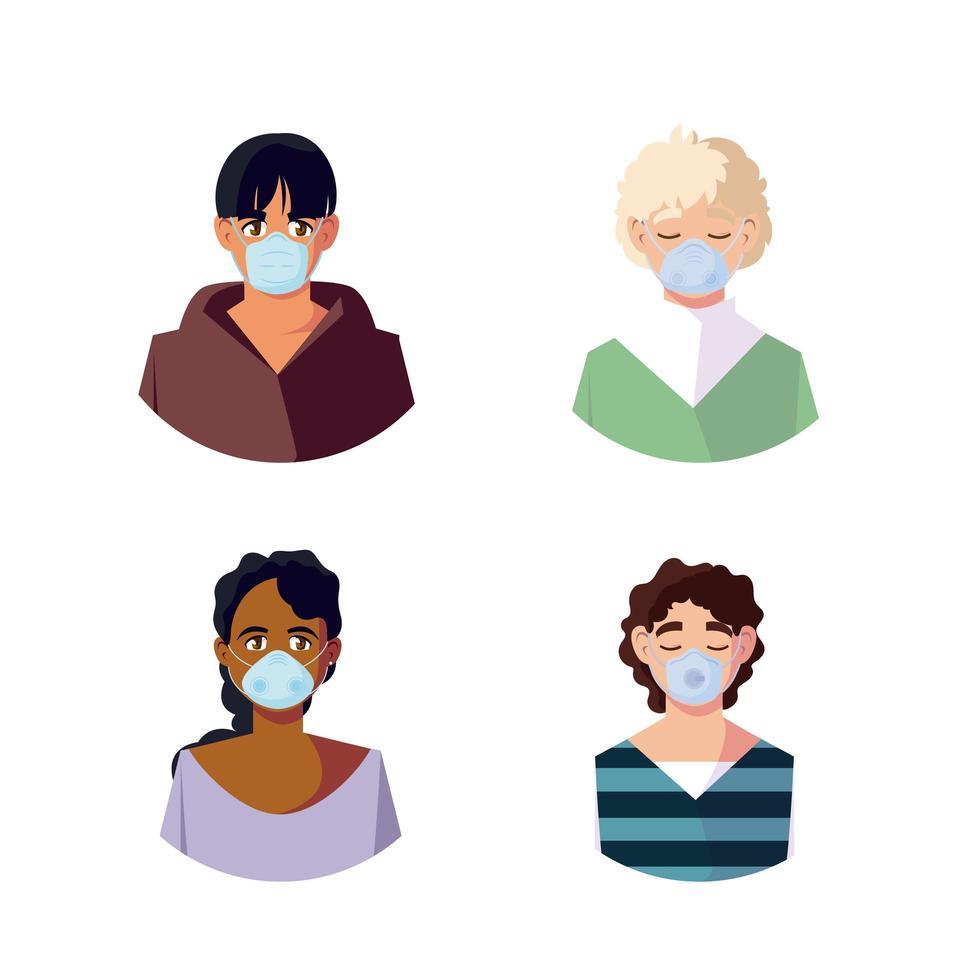 vrouw en mannen met medische maskers vector design