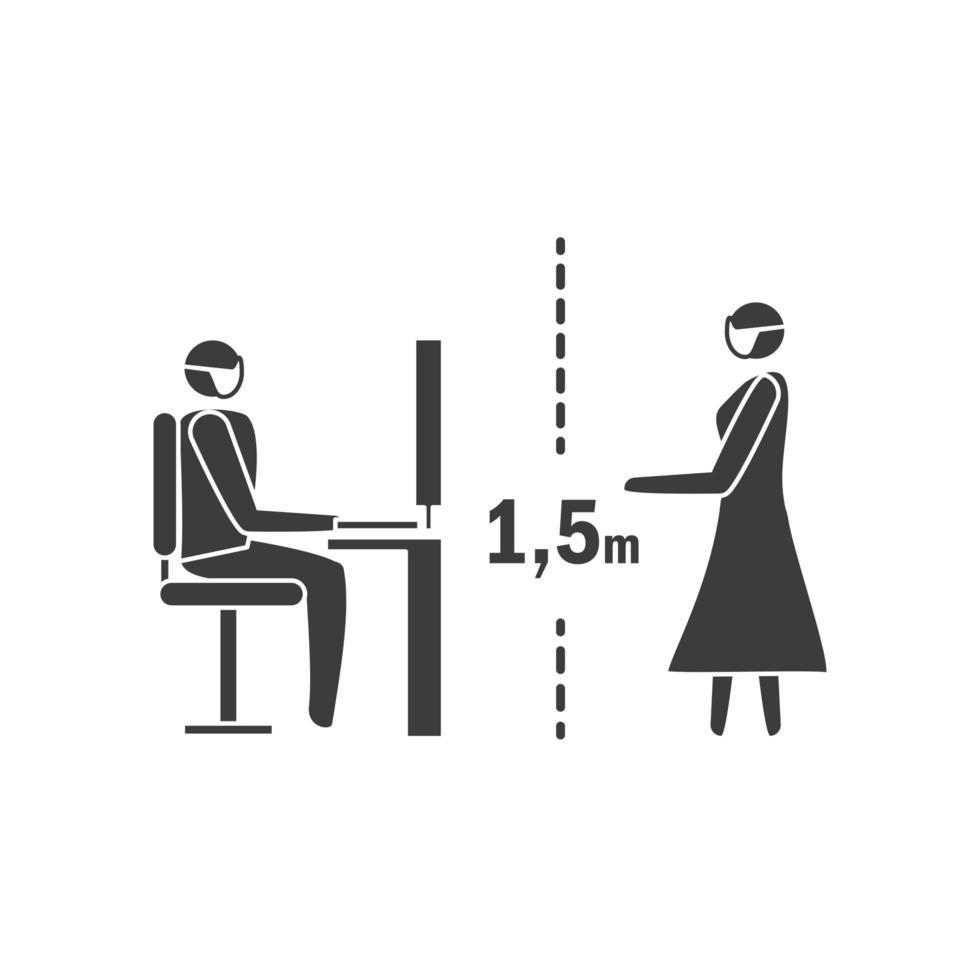sociaal afstandspictogram, afstand houden van 1,5 meter, coronovirus-epidemie vector