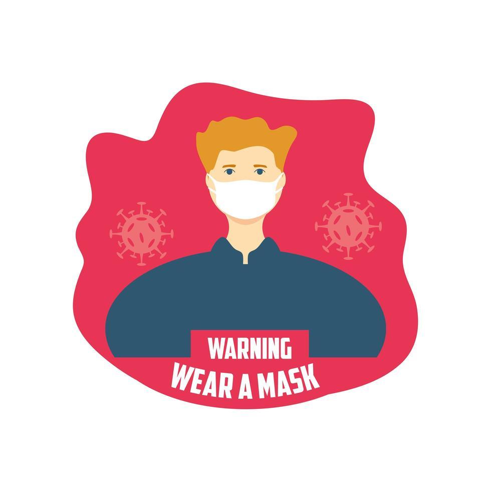 waarschuwingsbord, man met een medisch masker vector