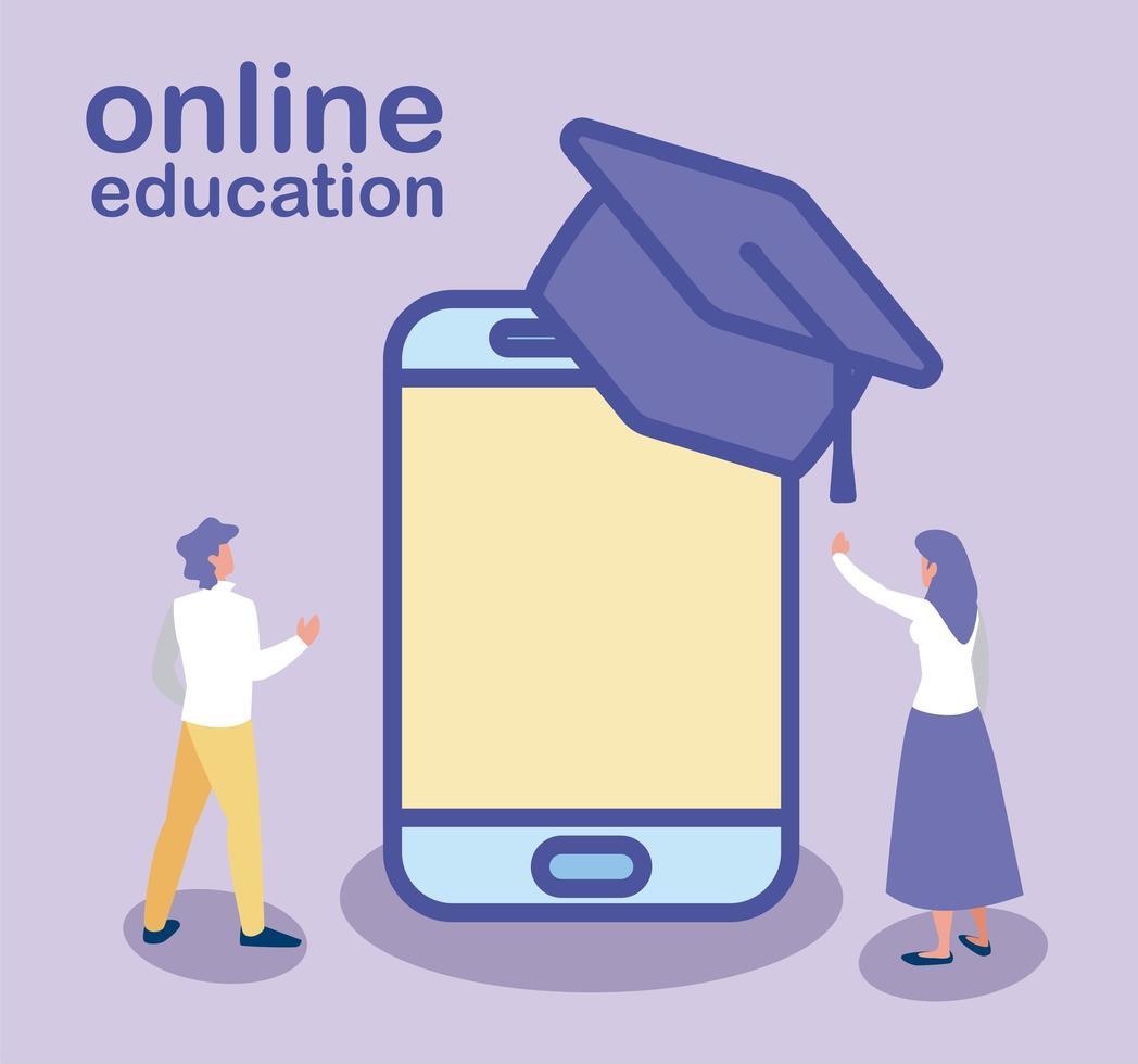 man en vrouw met smartphone en afstudeerhoed, online onderwijs vector