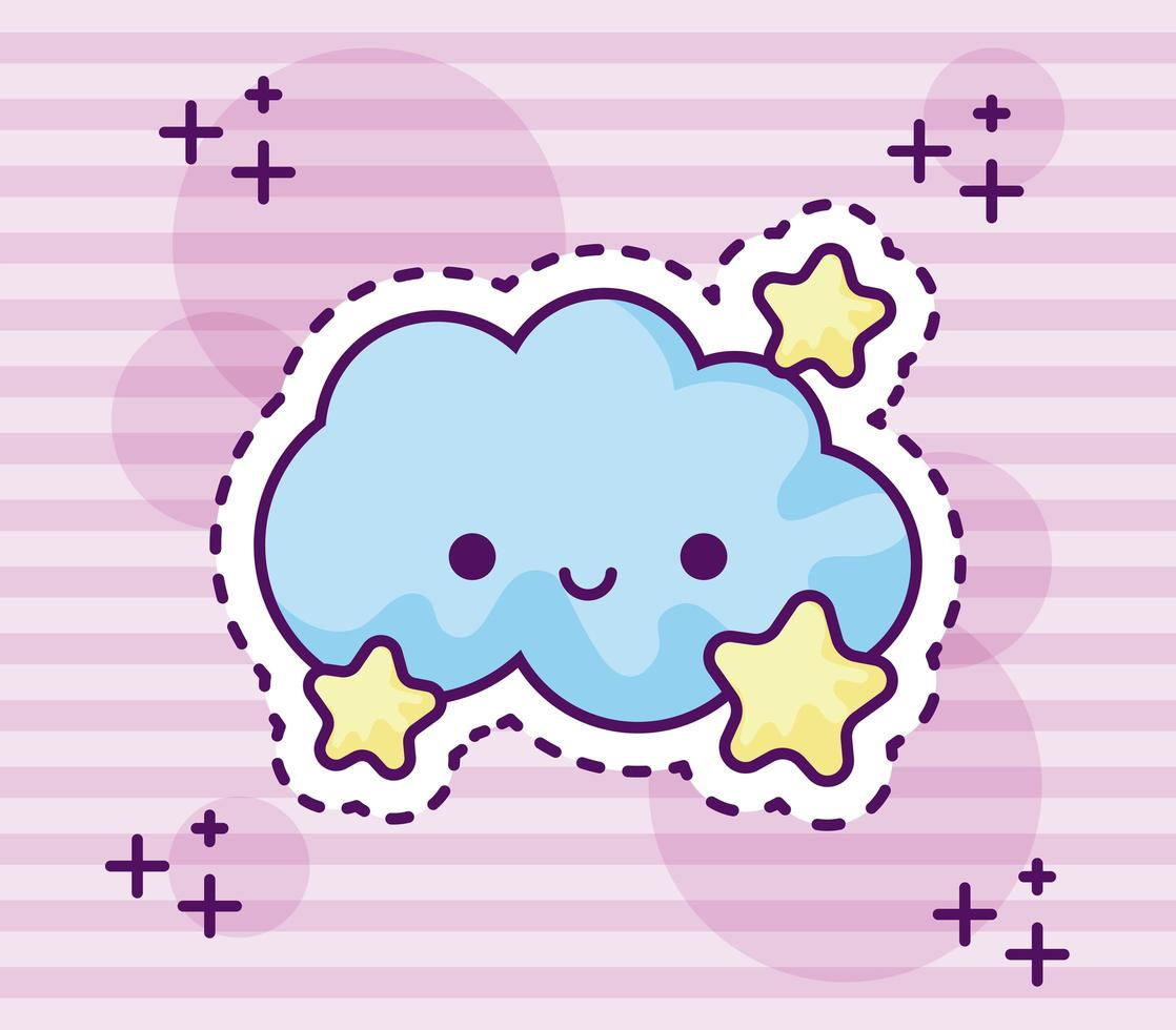 patch van schattige wolk met sterren vector
