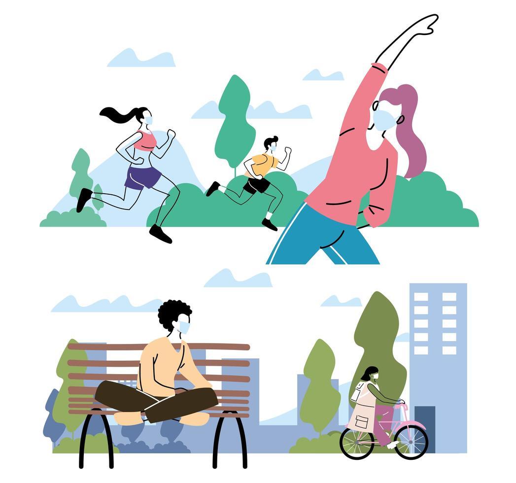 mensen die buiten in het park lichamelijke activiteit doen vector