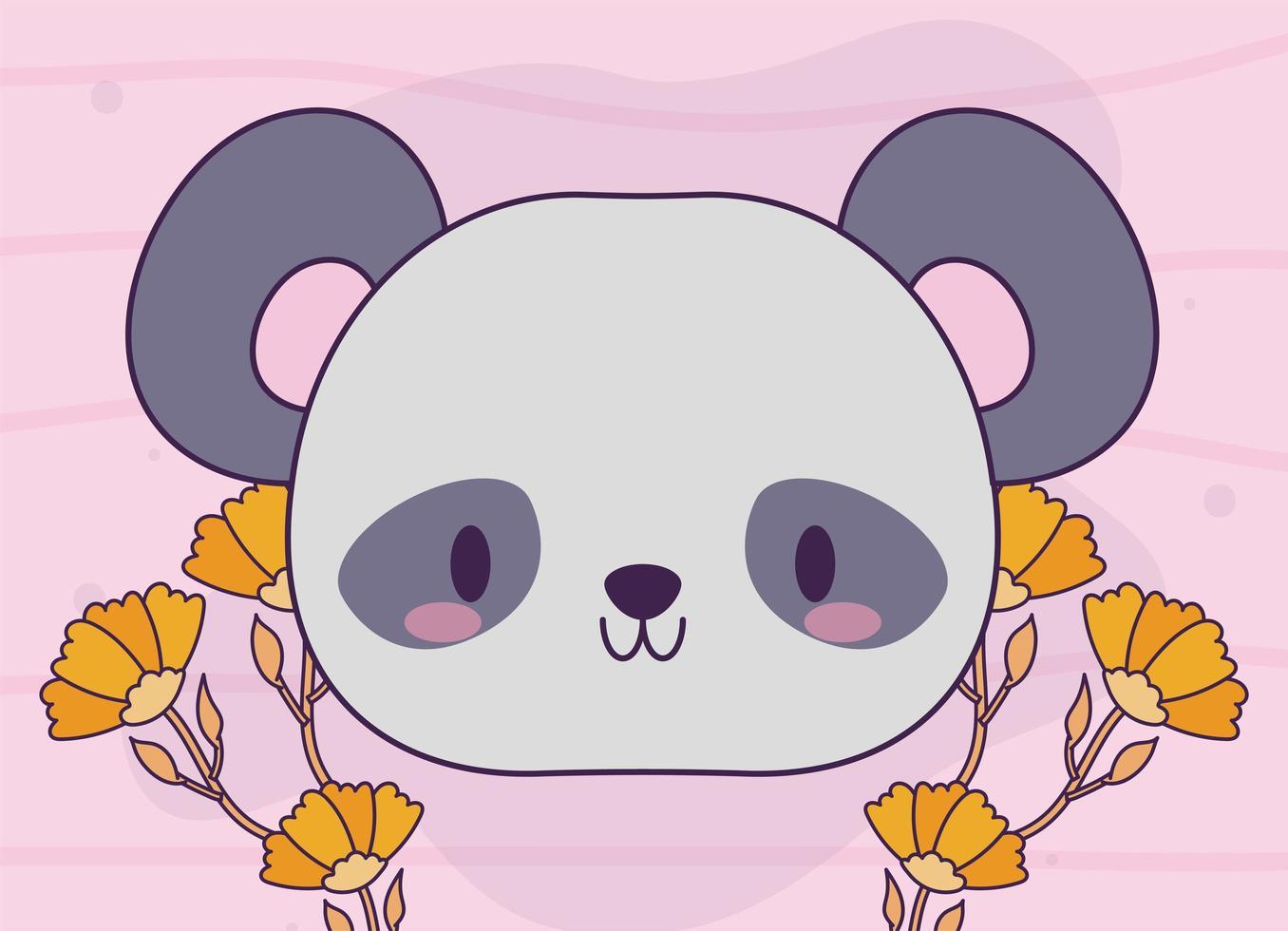 hoofd van kawaii babypanda beer met planten vector