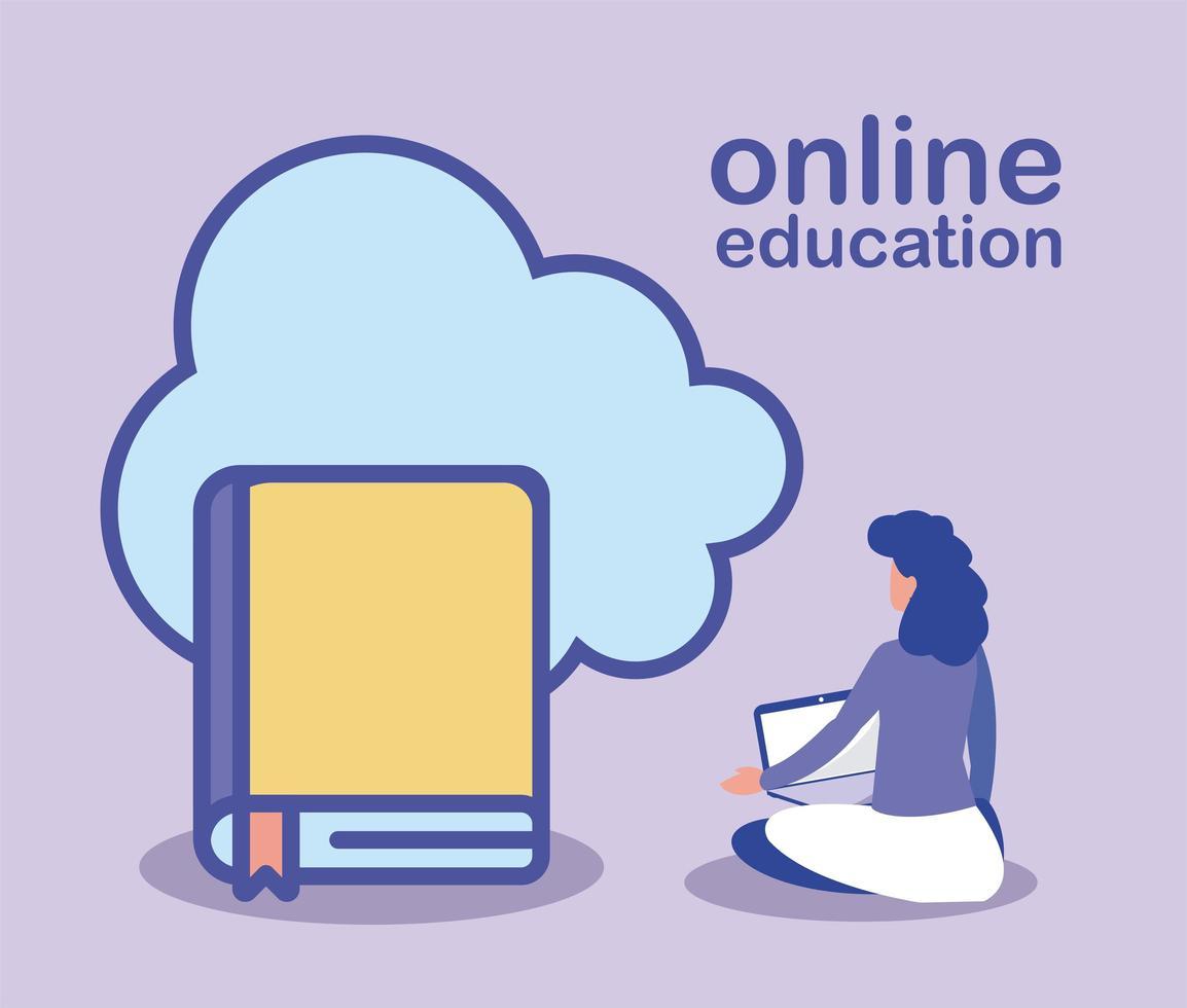 online onderwijs, vrouw met laptop en boeken vector