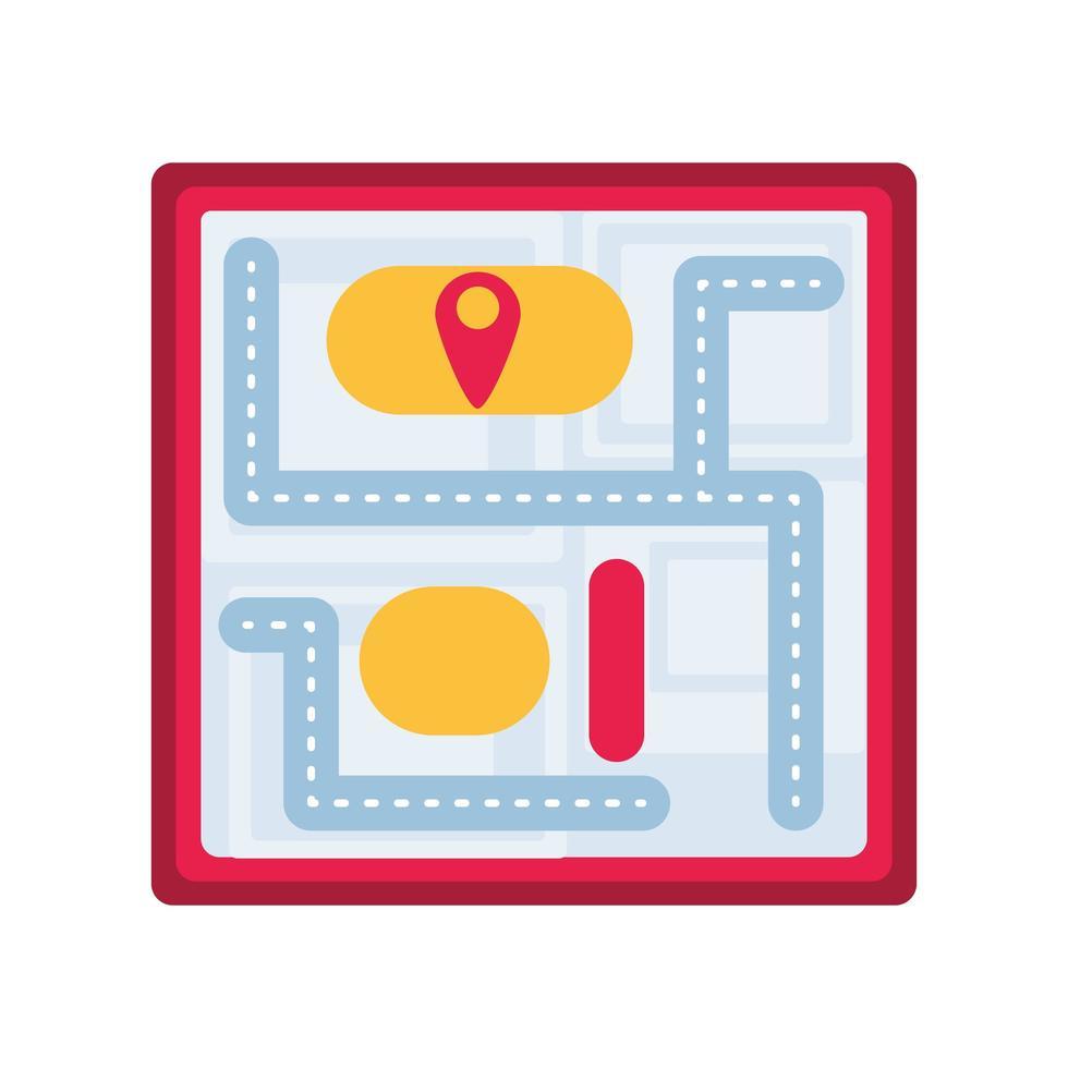 papieren kaart met locatieaanwijzer op witte achtergrond vector