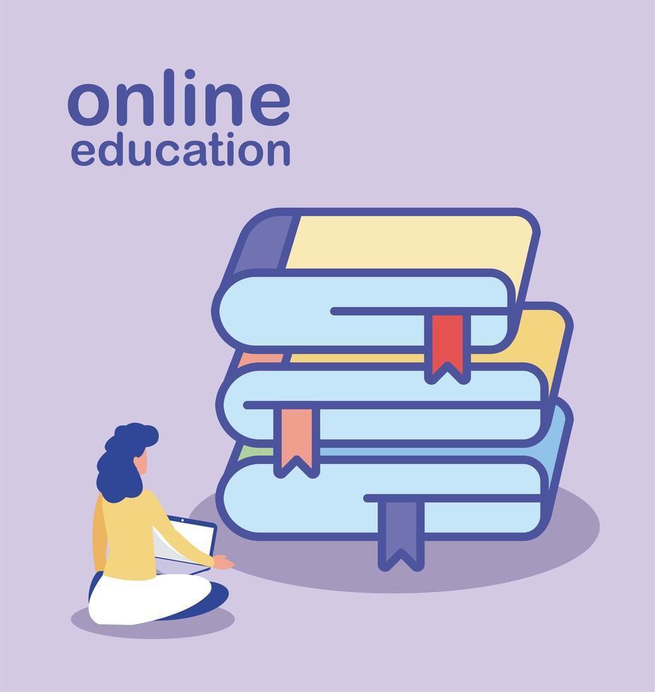 online onderwijs, vrouw met laptop en stapel boeken vector
