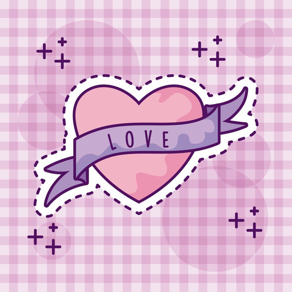 schattig hart met lint, patch-stijl vector