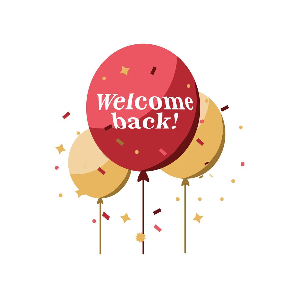 welkom terug ballonnen met confetti vector