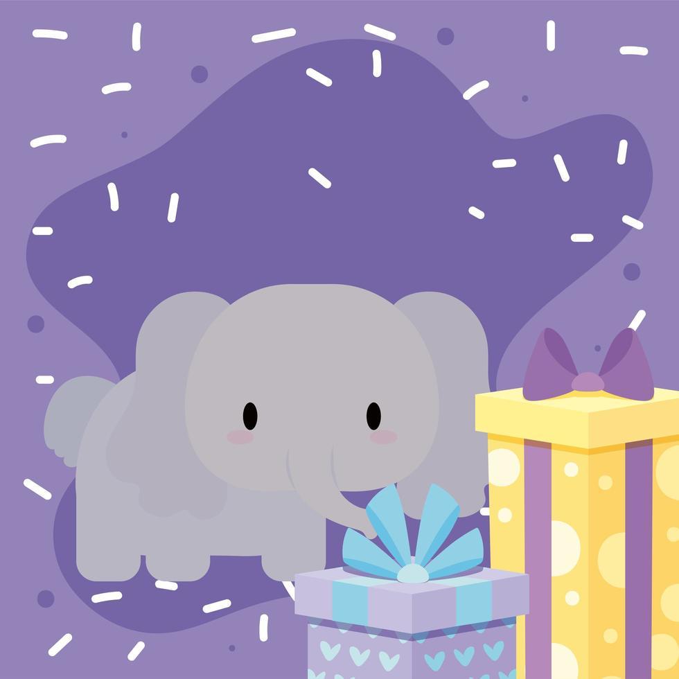 schattige verjaardagskaart met kawaii olifant vector