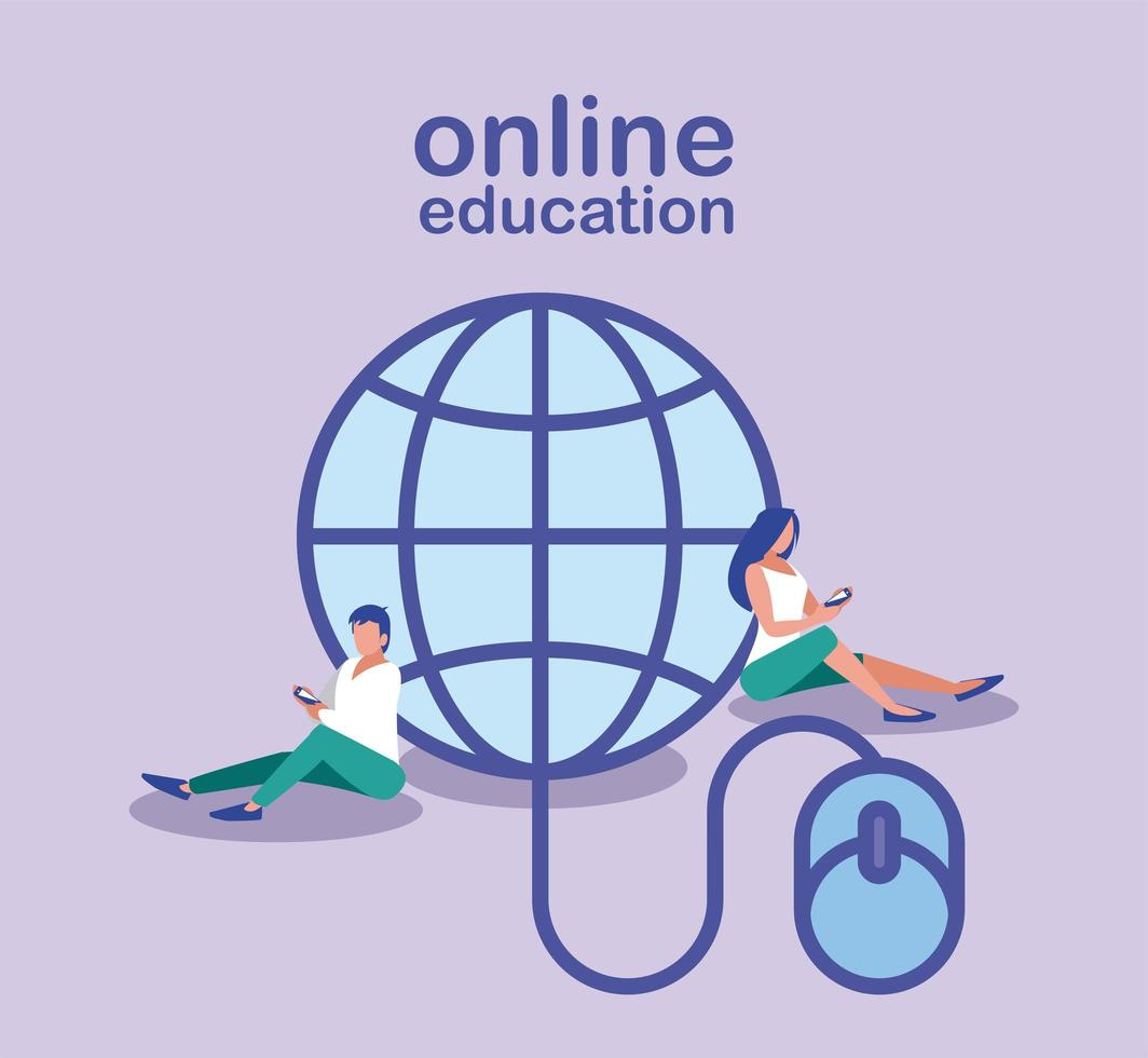 mensen die informatie zoeken op internet, online onderwijs vector