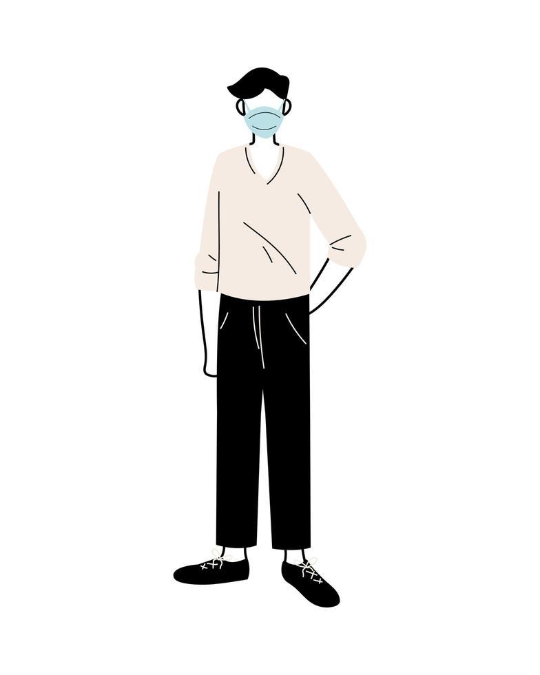 jonge man met medische masker staande op een witte achtergrond vector