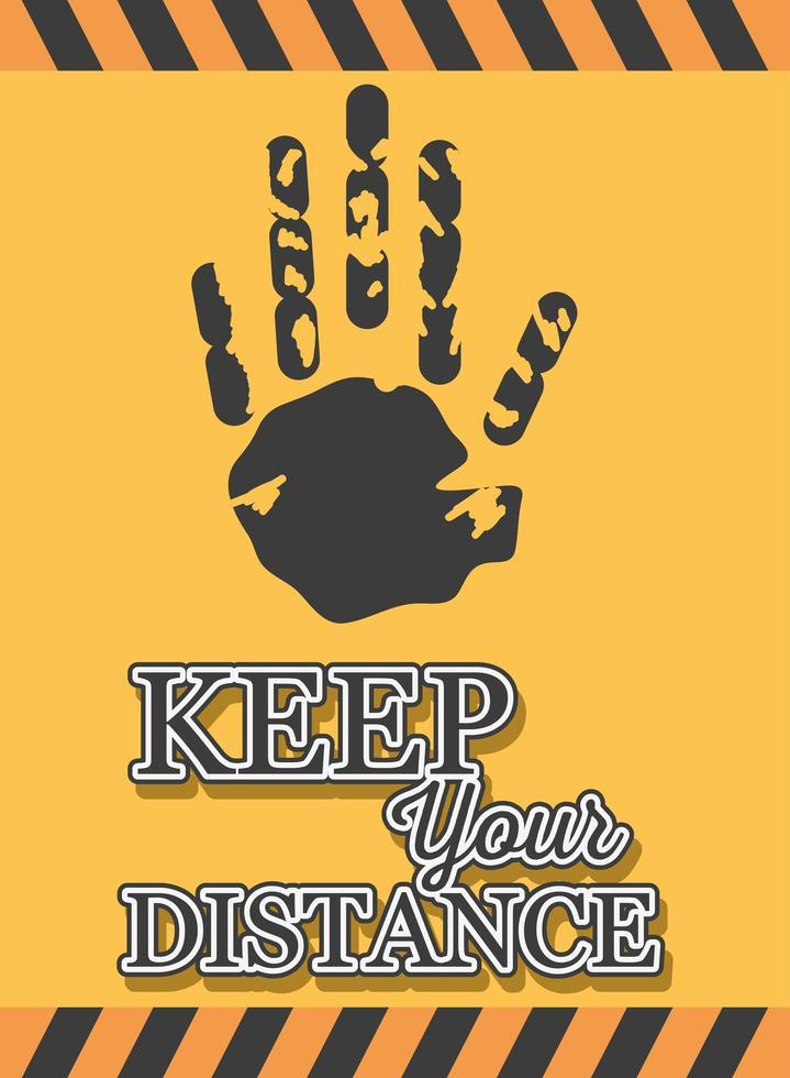 symbool van voorzichtigheid, houd afstand, banner vector