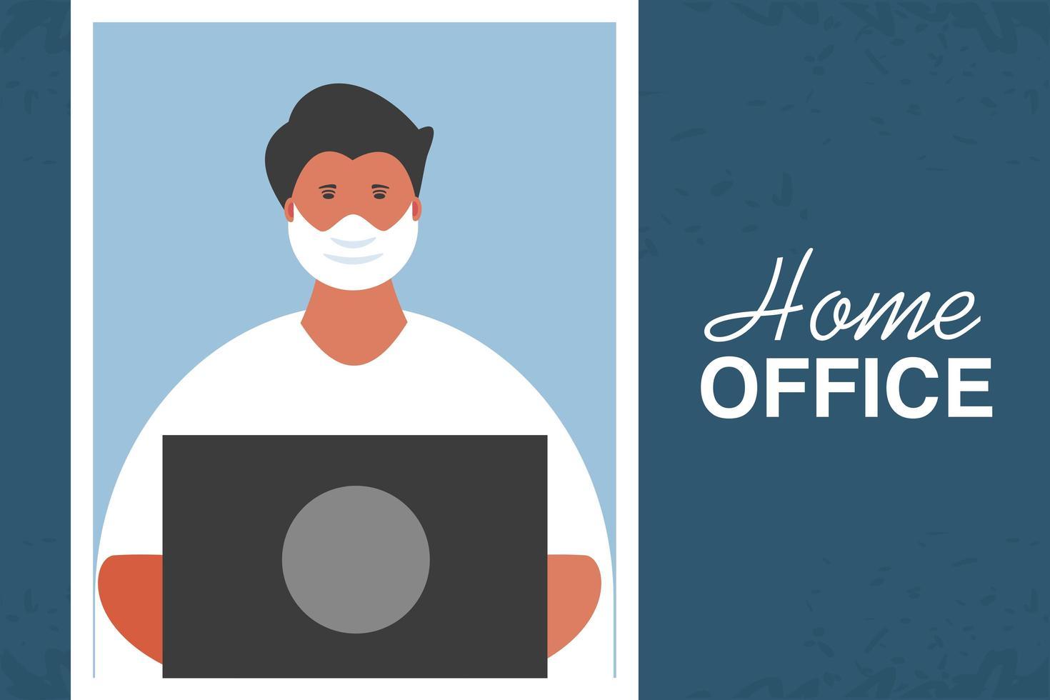 jonge man aan het werk op laptop, kantoor aan huis vector