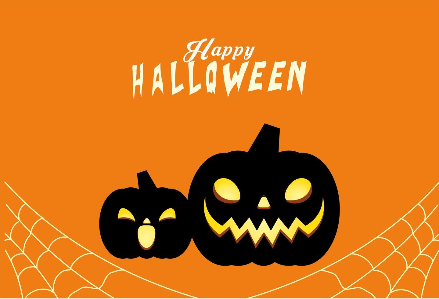 halloween zwarte pompoenen tekenfilms vector ontwerp