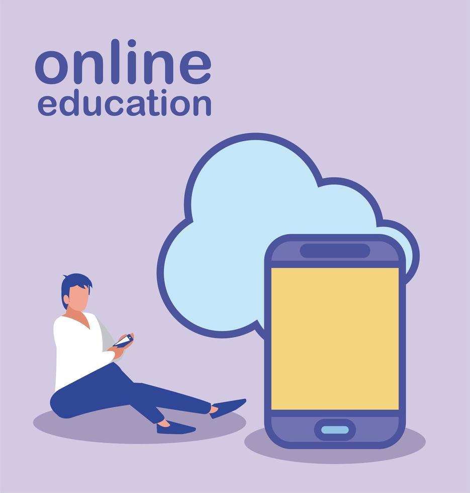 man met smartphone voor online onderwijs vector