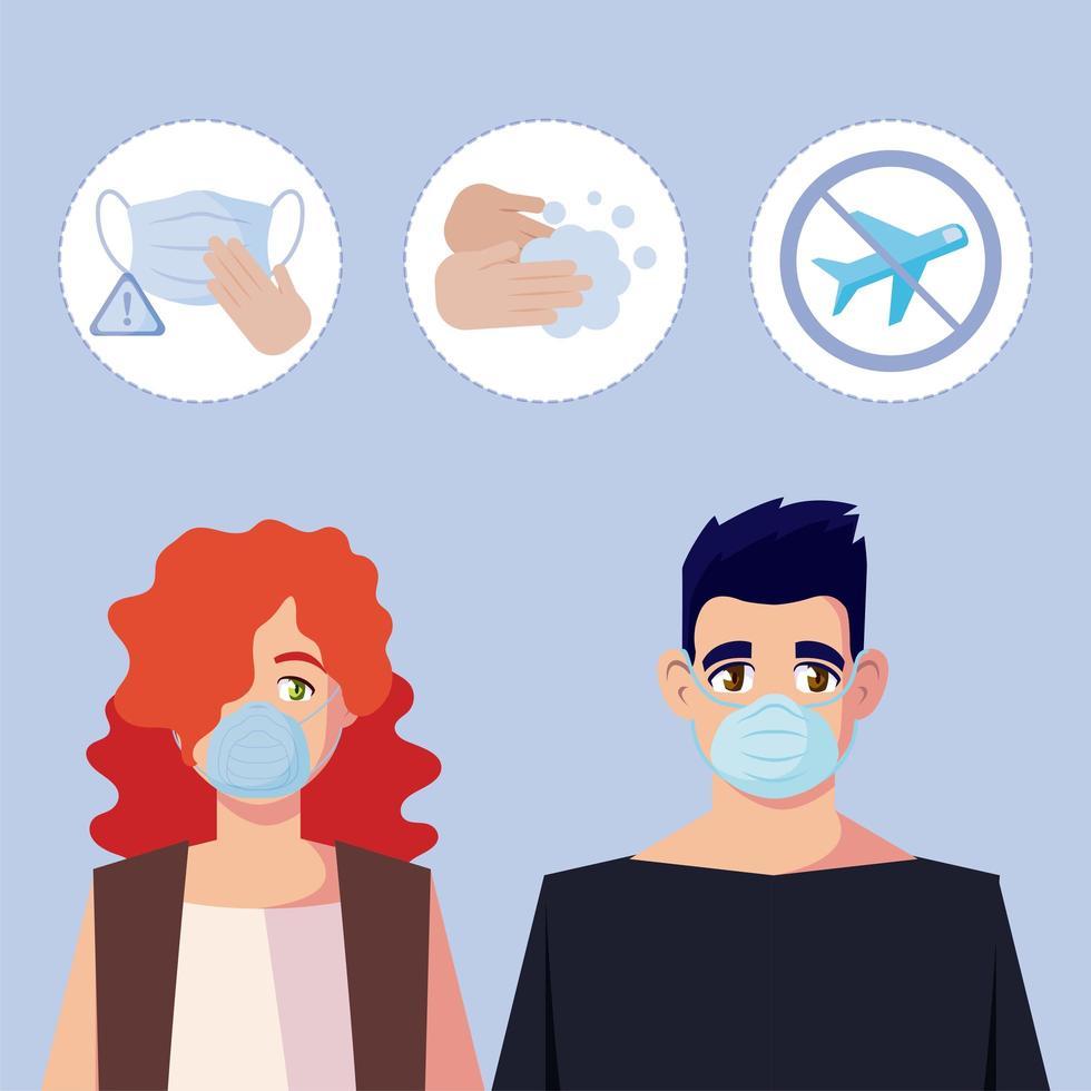 vrouw en man met medisch masker en covid19 icon set vector design