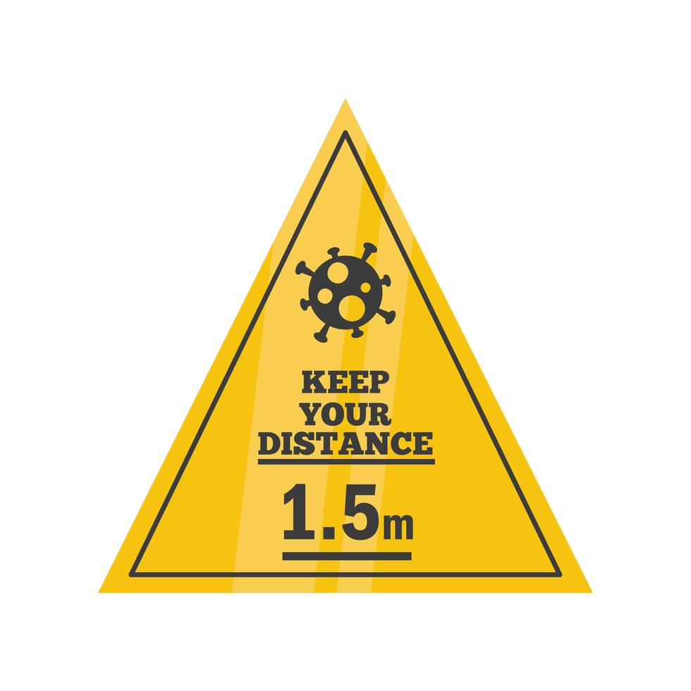 afstand houden van 1,5 meter, waarschuwingsbord vector