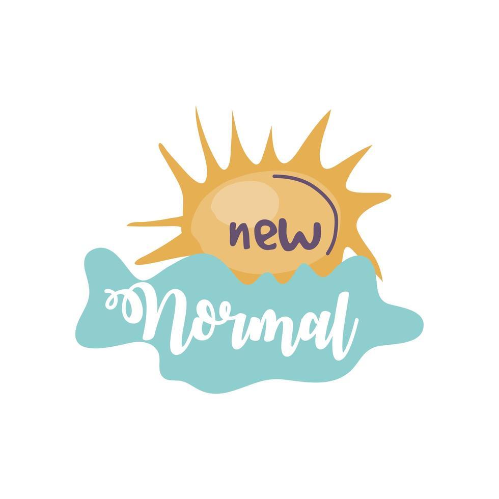 nieuwe normale letters met zon en wolk vector