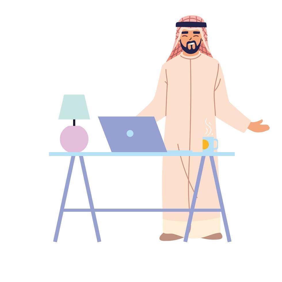 Arabische man cartoon met laptop op bureau vector ontwerp