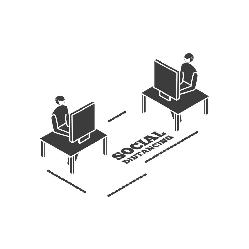 mensen die op de computer werken, sociale afstand nemen vector