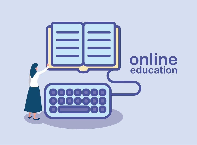vrouw met boek en toetsenbord voor online onderwijs vector