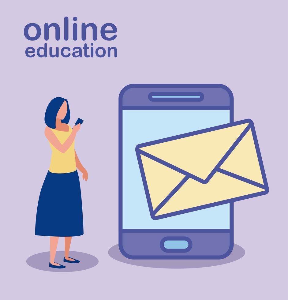 vrouw met smartphone voor online onderwijs vector