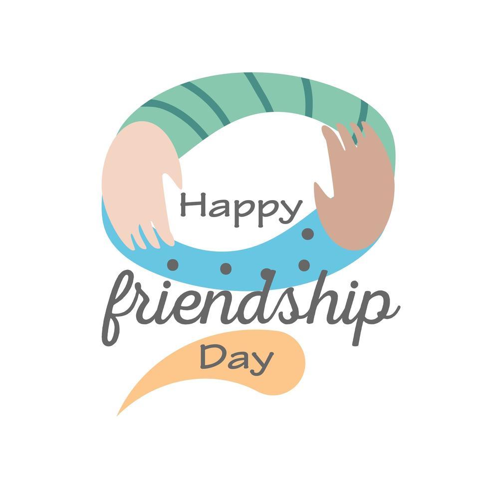 gelukkige vriendschapsdag met armen gedetailleerd stijl pictogram vector ontwerp