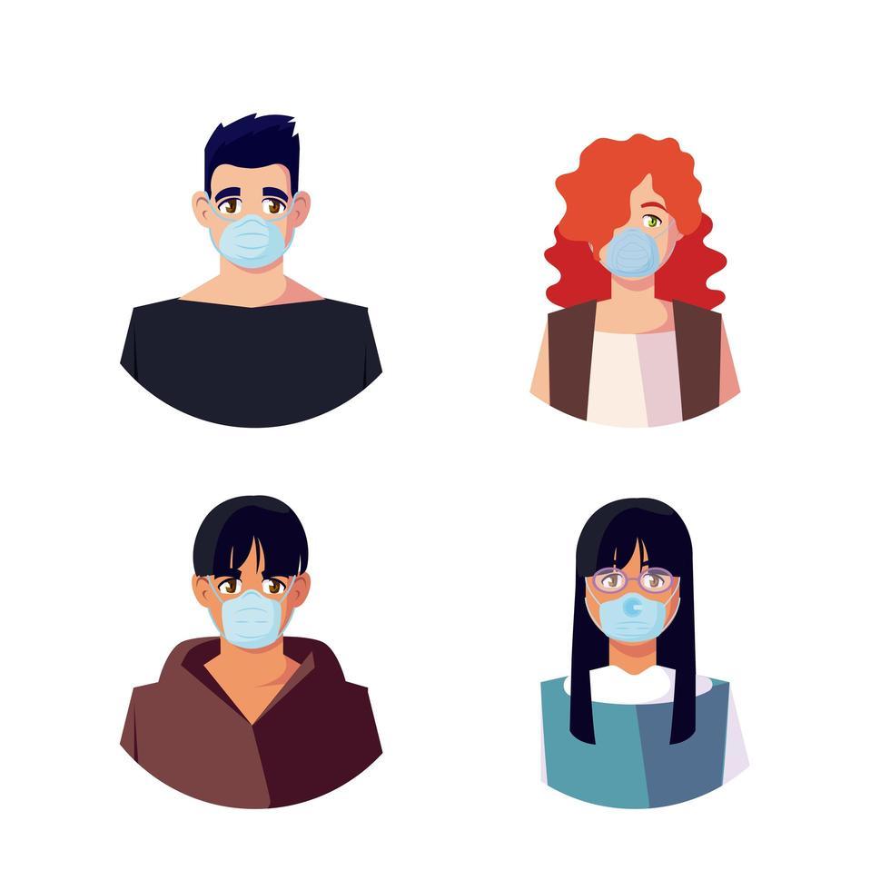 vrouwen en mannen met maskers vector ontwerp