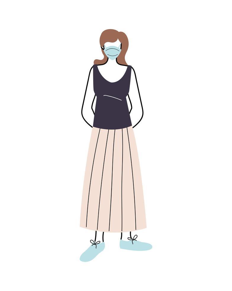 jonge vrouw met medisch masker staande op een witte achtergrond vector