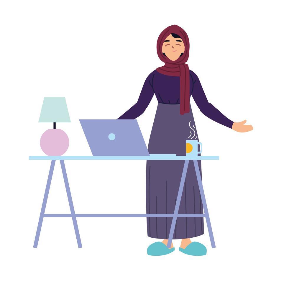moslimvrouwenbeeldverhaal met laptop op bureau vectorontwerp vector