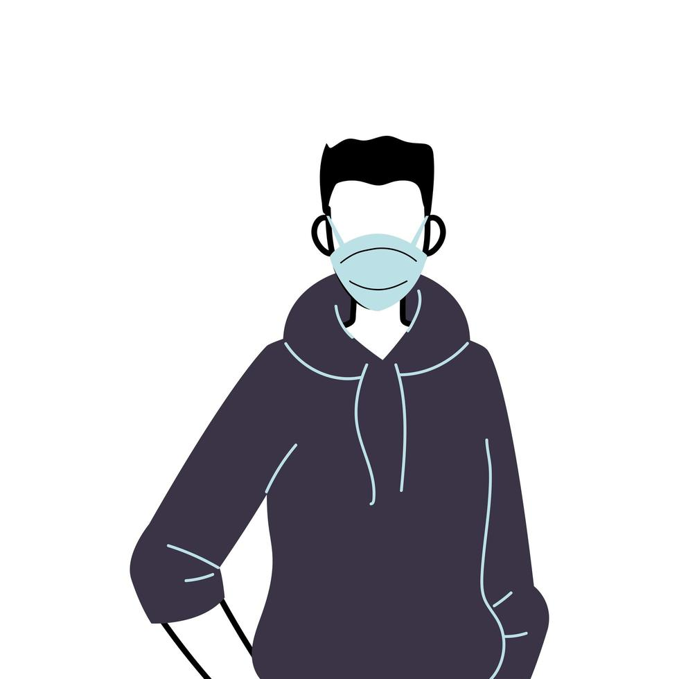 jonge man met gezichtsmasker om virus te voorkomen vector