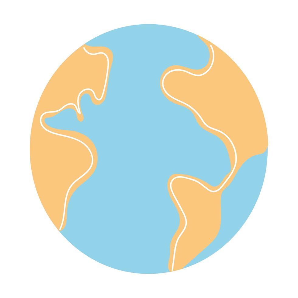 planeet aarde op witte achtergrond vector