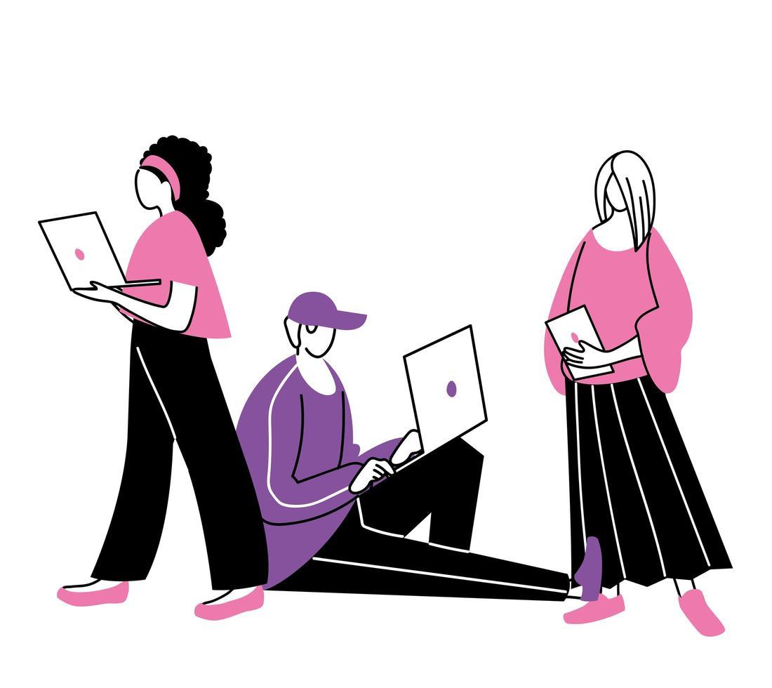 jongeren die laptops en tablets gebruiken vector