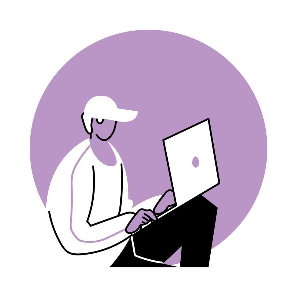 jonge man met behulp van een laptop vector