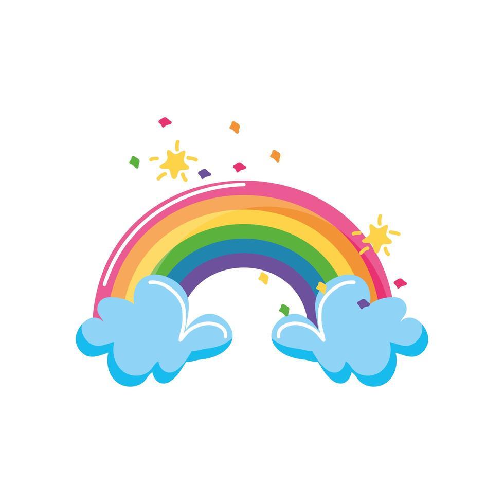 regenboog en wolken met sterren op een witte achtergrond vector